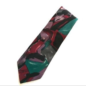 Pierre Cardin Silk Tie Purple Black Teal Burgundy